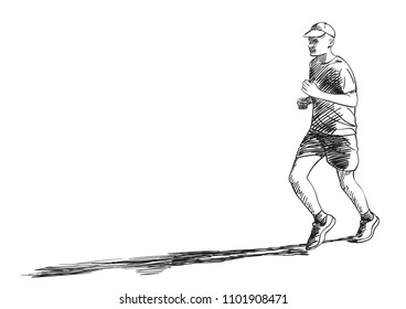 Sketch of running young man with long shadow, Hand drawn vector illustration