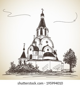 Sketch of Russian Orthodox Church. Hand drawn illustration