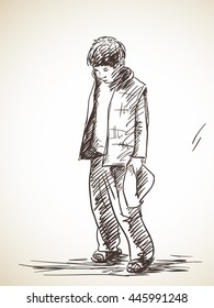 Sketch of sad boy, Hand drawn illustration