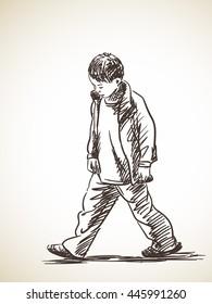 Sketch of sad boy walking, Hand drawn illustration