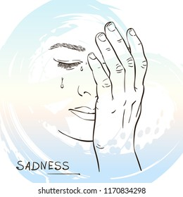 Sketch of sad crying woman face closed with hand, Hand drawn vector illustration on watercolor background