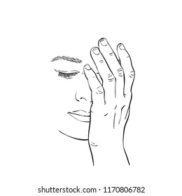 Sketch of sad and tired young woman face closed with hand, Hand drawn vector linear illustration