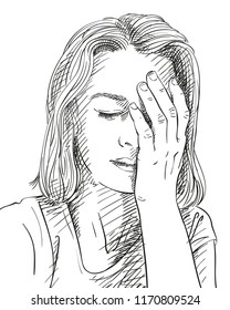 Sketch of sad and tired young woman, Hand drawn vector illustration
