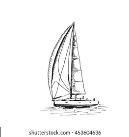 Sketch of Sailing yacht. Vector sketch illustration.