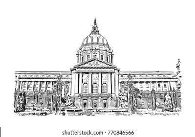 Sketch of San Francisco City Hall, California, USA in vector illustration.