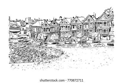 Sketch of San Fransisco road traffic, California, USA in vector illustration.