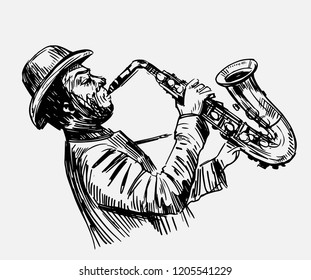 Sketch of a saxophonist. Jazz musician. Hand drawn illustration converted to vector