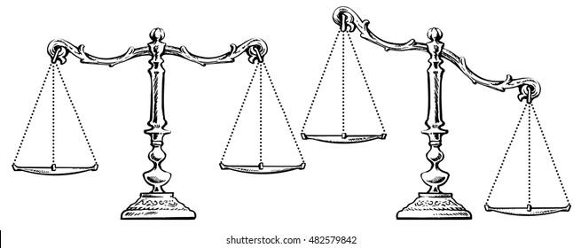 Sketch of scales balanced and unbalanced. Scales of justice. Black and white hand drawn vector illustration Isolated