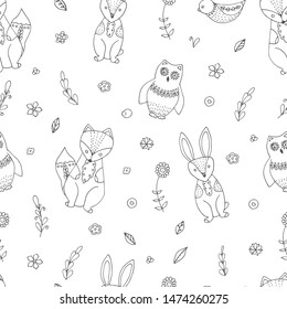 Sketch Scandinavian style animals and flowers seamless. Hand drawn outline scandinavian style pattern.