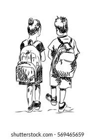 Sketch of school boy and girl going to school  in vector.