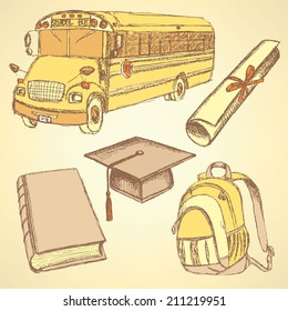 Sketch school bus, book, backpack and graduation hat with diploma