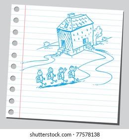 Sketch of a schoolchildren going to school