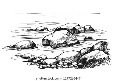 Sketch with sea and rocks. Hand drawn illustration converted to vector