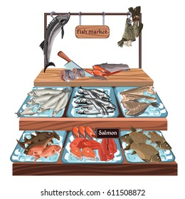 Sketch seafood market concept with herring trout carp salmon flounder zander perch cod sprat fish products on counter vector illustration