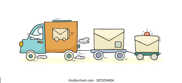 Sketch set with cute car and letters. Doodle cartoon miniature scene with delivery truck and postman. Hand drawn cartoon vector illustration for trasportation design.