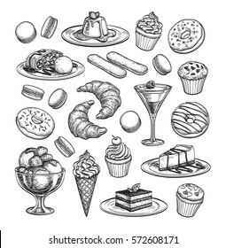 Sketch set of dessert. Pastry sweets collection isolated on white background. Hand drawn vector illustration. Retro style.