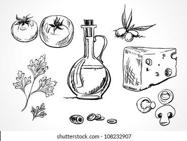 Sketch set of food