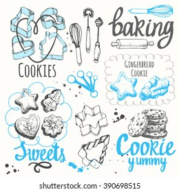 Sketch set with forms for cookies and chocolate chip. Vector illustration of fresh organic baking with recipe. Funny labels with dessert pastries.