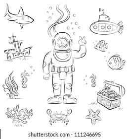 Sketch set of funny cartoon isolated objects on underwater diving theme
