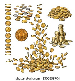 Sketch set of gold coins in different positions. One old coin, falling dollars, pile of cash, stack of money.  Hand drawn vector illustration isolated on white background.