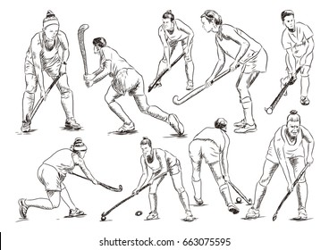 Sketch set of hockey player playing in vector illustration.