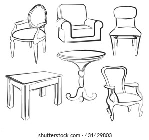 Sketch set isolated furniture. Different chairs and tables. Linear black furniture on a white background. Vector illustration.