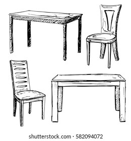 Sketch set isolated furniture. Different office chairs and desks. Linear black furniture on a white background. Vector illustration.