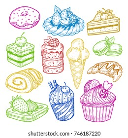 Sketch Set of isolated sketches of sweets. Bakery and pastry, confectionery products for dessert. Croissant and donut, cake with cherry and pie with strawberry, cupcake and roulette, ice-cream