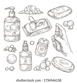 Sketch set of items for disinfection. Sanitizer,antibacterial gel and spray, wipes, disposable towels, soap for the prevention of viral infections.