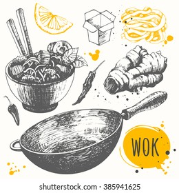 Sketch set with pan, chinese noodles, ginger, pepper. Vector food illustration with wok products. Asian fastfood