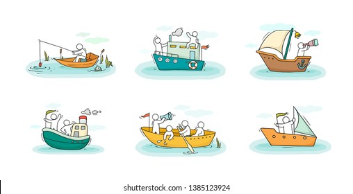 Sketch set with people and boats. Doodle cute miniature scenes about transportation. Hand drawn cartoon vector illustration for vacation design.