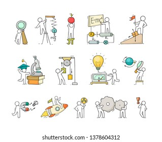 Sketch set of physics concepts with working little people. Doodle cute miniatures of teamwork and science symbols. Hand drawn cartoon vector illustration for school subject design.