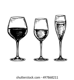 Sketch set of wineglasses. Isolated on white background. Hand drawn vector illustration.