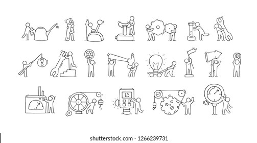 Sketch set of working little people with machinery elements. Doodle icons about engineering work. Hand drawn cartoon vector illustration for technical design.