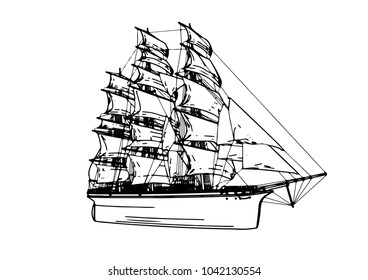 sketch ship of a sailboat vector