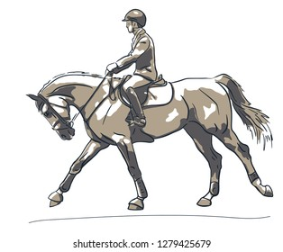Sketch of a show jumping rider cantering on ahorse.
