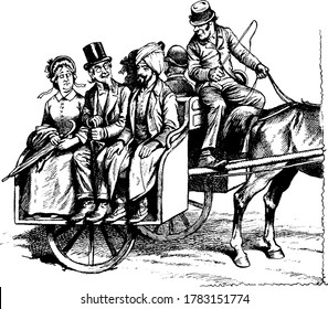 sketch showing people seated back to back on jaunting car. Jaunting car is a light two-wheeled carriage for a single horse and very popular in Ireland, vintage line drawing or engraving illustration.