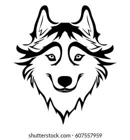 Sketch of Siberian husky. Hand drawn portrait of dog. Vector illustration
