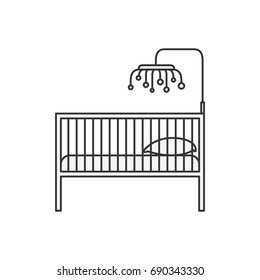 sketch silhouette of baby crib with wood railing vector illustration