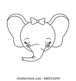 sketch silhouette caricature face of female elephant animal eyes closed expression vector illustration