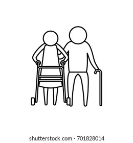 sketch silhouette of pictogram elderly couple with walking sticks vector illustration