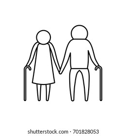 sketch silhouette of pictogram elderly couple with walking sticks in clothes vector illustration