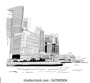 Sketch of Singapore Business Bay in Vector