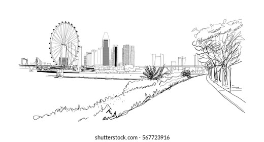 Sketch of Singapore marina bay in vector.