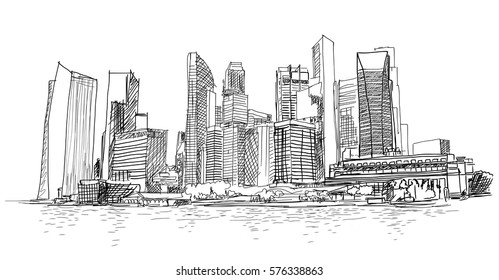 Sketch of Singapore marina bay in vector.