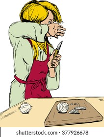Sketch of single blond Caucasian female in red apron cutting onions and weeping