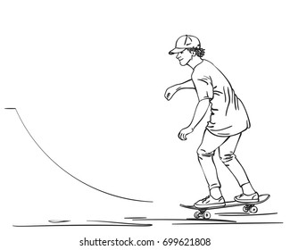Sketch of skateboarder in cap, T-shirt and tight pants riding on skateboard in skate park, Hand drawn Line art vector illustration isolated on white