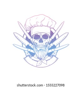 Sketch of skull with cooks knife set