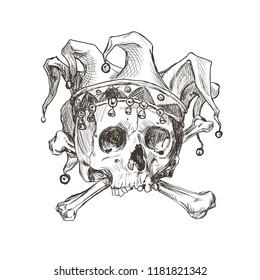 Sketch of the skull of a joker in a comic cap. Vector illustration.