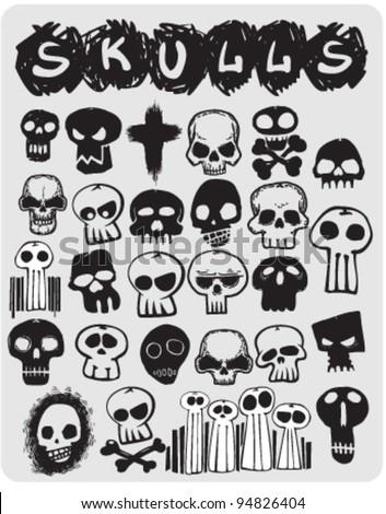sketch skulls set stock vector royalty free 94826404 shutterstock